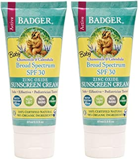 product image for Badger - Baby Sunscreen Cream Broad Spectrum SPF 30 Protection, Chamomile and Calendula Formula Tube- 2.9 Fl Oz (Pack of 2)