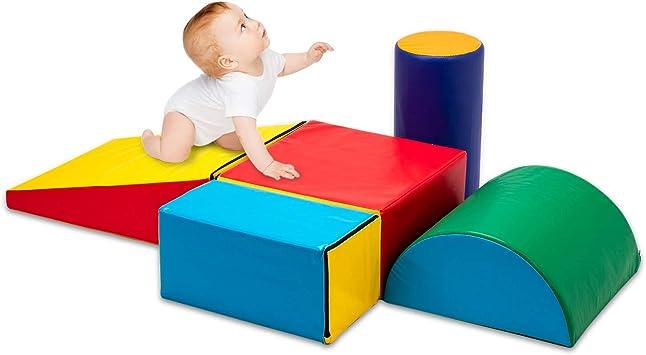 Matladin Juego de Escalador de Espuma Suave para Interiores de 5 Piezas, Escalador para niños Principiantes con rampa Deslizante para Escalada ...