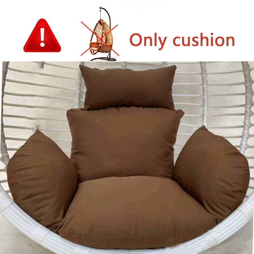 MonthYue Hanging Chair Cushions, Without Stand Multi Color Swing Seat Cushion Thick Nest with Pillow Suitable for Single Basket Hanging Egg Hammock,Brown by MonthYue