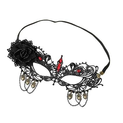 healifty Negra Sexy Lady Lace Máscara con brillantes Floral ajustable Recorte Ojo Máscara para disfraz de