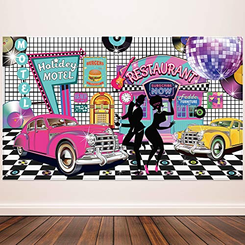 50 Themed Party (50's Theme Party Decorations Rock and Roll Party Backdrop Party Banner Classic 50s Backdrop Banner for 1950's Party Decorations, 72.8 x 43.3)