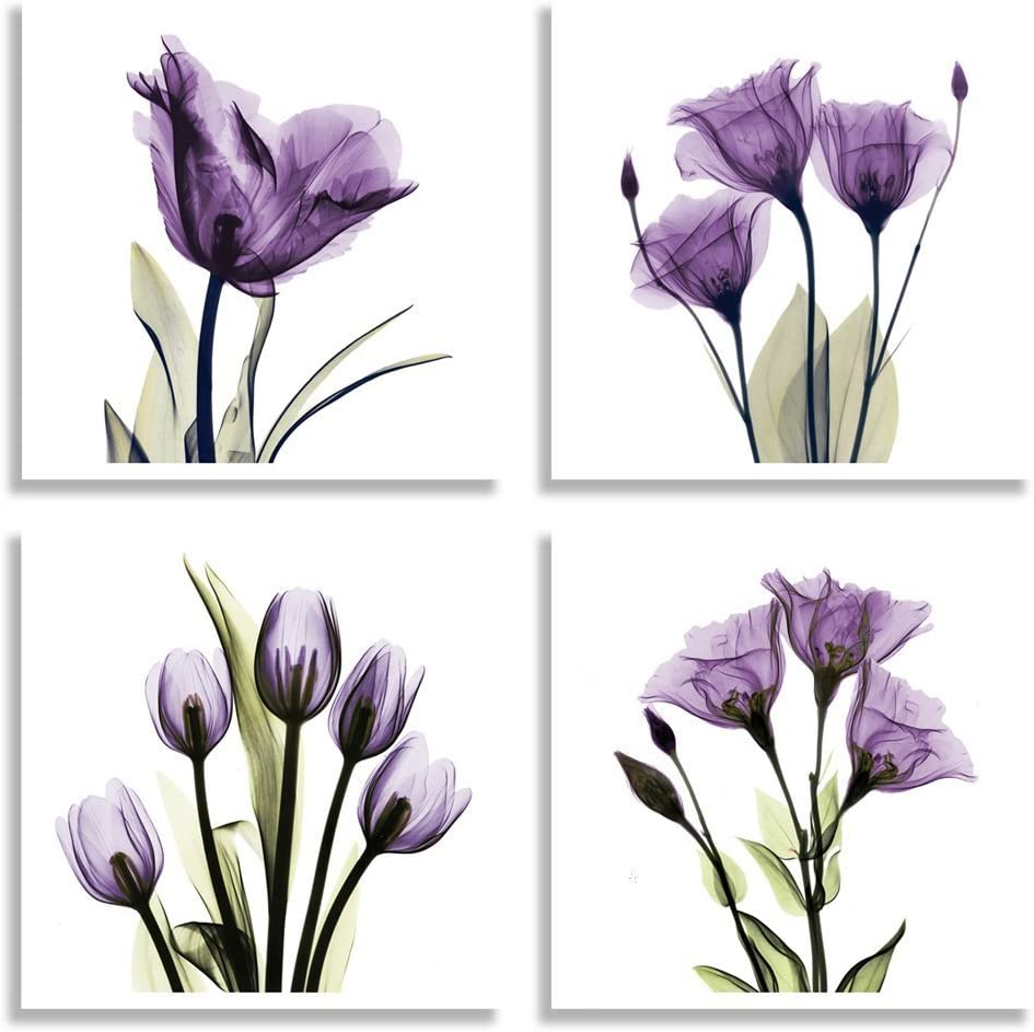 HLJ ART 4 Panel Elegant Tulip Purple Flower Canvas Print Wall Art Painting for Living Room Decor and Modern Home Decorations Photo Prints 12x12inch (Purple M)