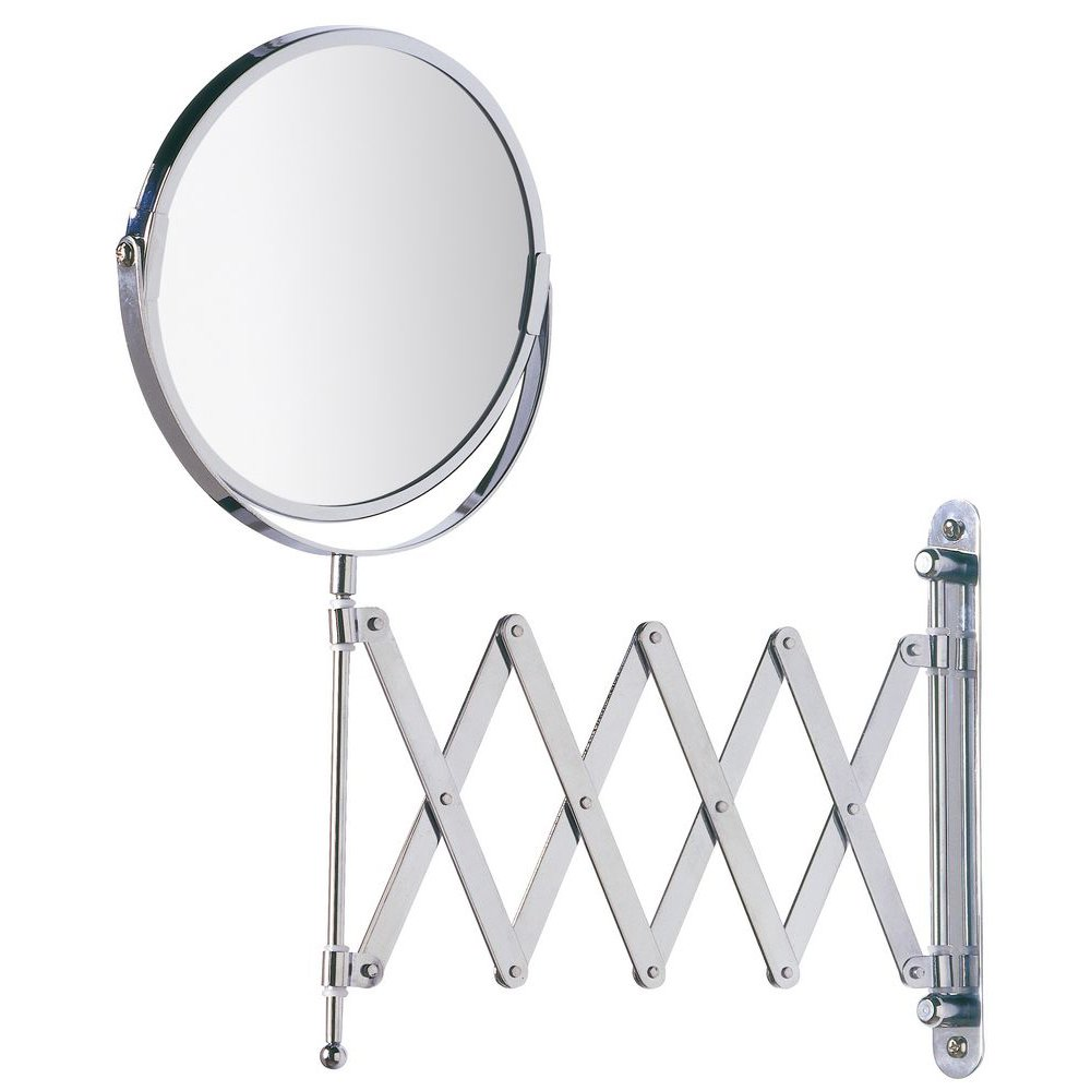 WENKO 15165100 Wall-mounted cosmetic mirror Telescope Exclusive, mirror surface diam. 6.3 inch, 3 x magnification, Steel, 7.5 x 15.2 x 19.7 inch, Chrome
