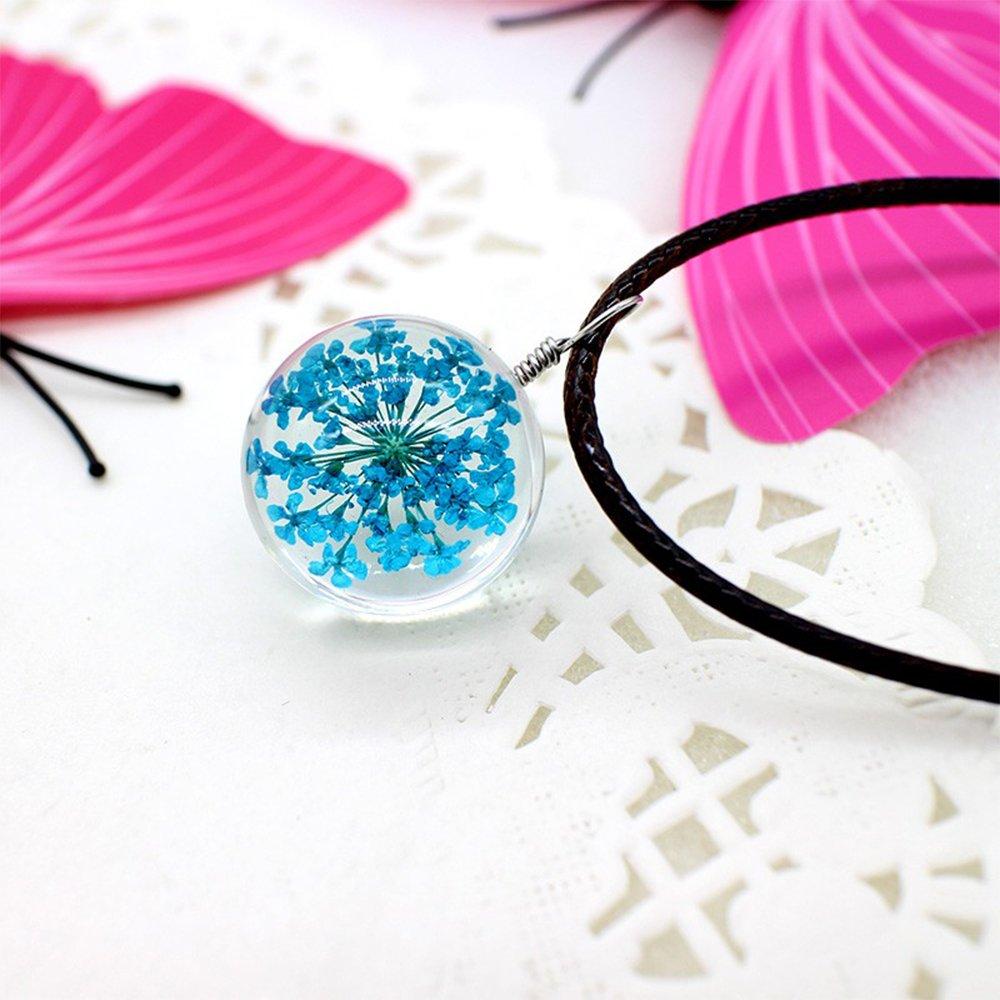 Blueflower Halskette zu Blaue Blume–Glaskugel (Kette schwarzer Queuetasche) Macy