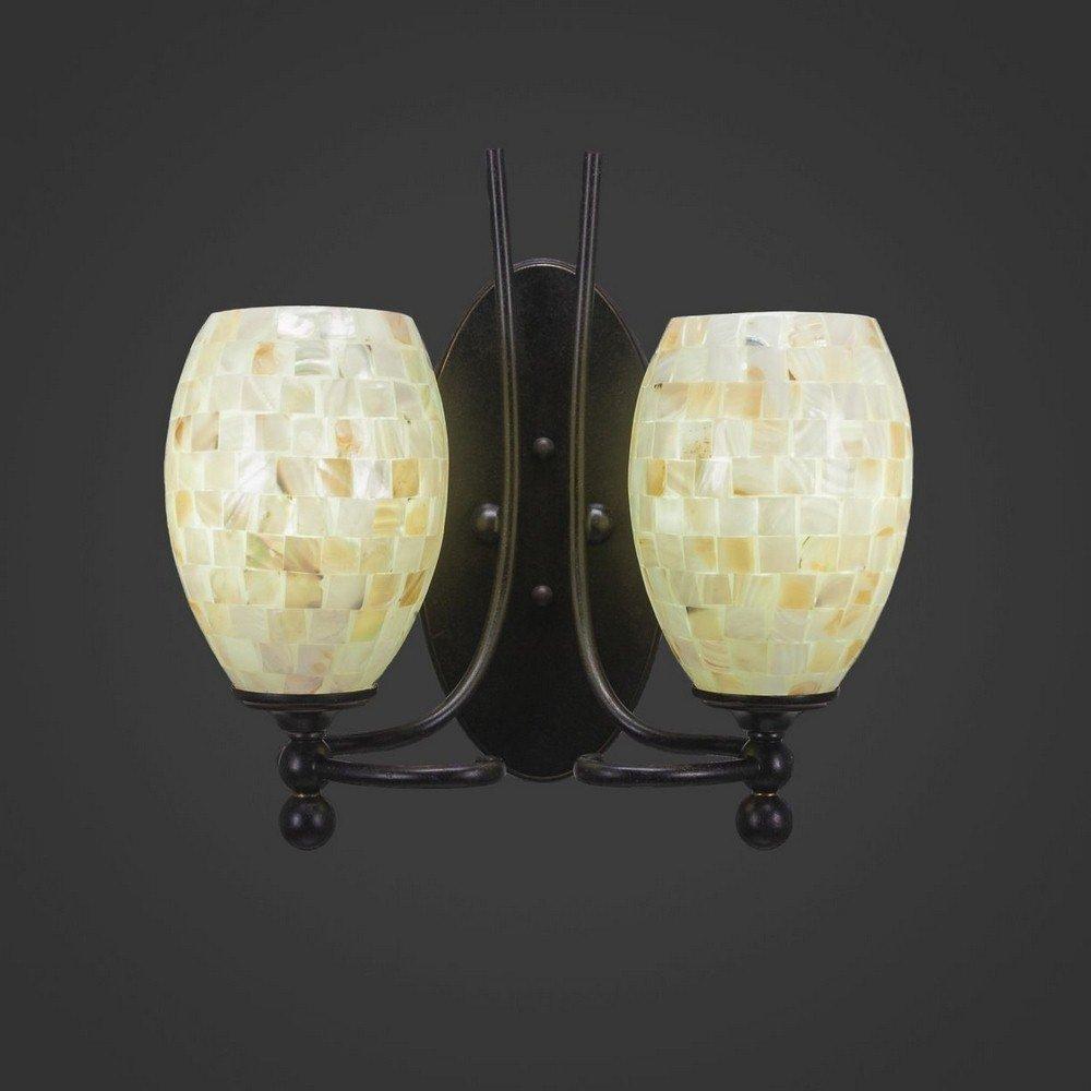 Toltec Lighting 590-DG-406 Capri - Two Light Wall Sconce, Dark Granite Finish with Ivory Glaze Seashell Glass