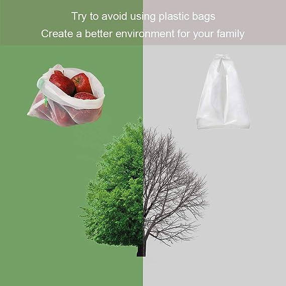 Blumads Bolsas Compra Reutilizables Ecol/ógicas Bolsa de Malla para Almacenamiento Fruta Verduras Juguetes Lavable y Transpirable 3 Diversos Juego de 12 Bolsas de la Compra