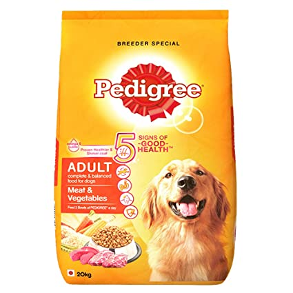Pedigree Adult Dry Dog Food, Meat and Vegetables, 20kg Pack