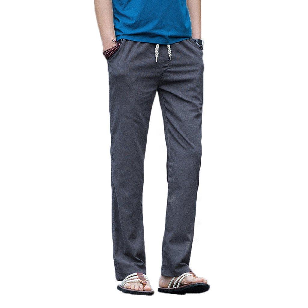 Elonglin Mens Spring Autumn Casual Linen Pants Elastic Waist EL.CK0262