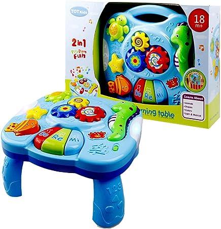 XUMING Mesa de Juego de Aprendizaje Musical para bebés, Centro de Actividades de música de educación temprana, Mesa de Juegos, Adecuada para niños de 0-3 años, iluminación y Sonido: Amazon.es: Hogar