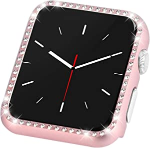Coobes Compatible with Apple Watch Case 38mm 42mm, Metal Bumper Protective Cover Women Bling Diamond Crystal Rhinestone Shiny Compatible iWatch Series 3/2/1 (Diamond-Rose Gold, 38mm)
