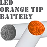 White | LED Orange Glow Tip | NUCIG Spare/Replacement battery with LED or New BLING Crystal Colour Glow Tips | Over 35 Colour Combinations for | Ecigarette | electronic cigarette | electric cigarette | shisha | Hookah