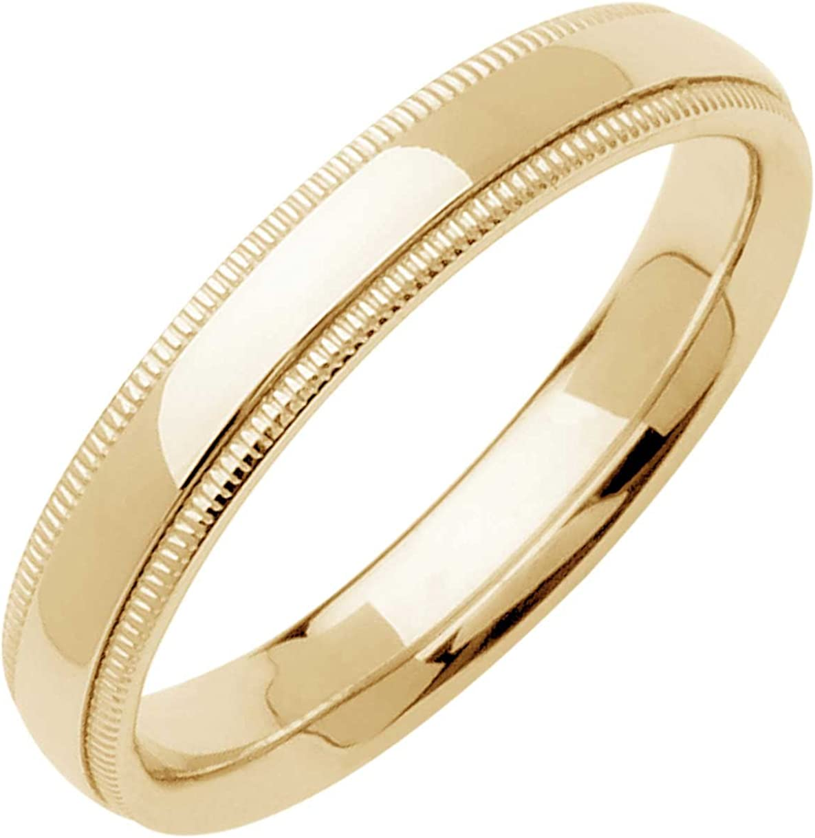 14K White Gold Wedding Band 3mm Milgrain Edges Domed Classy Comfort Fit Ring