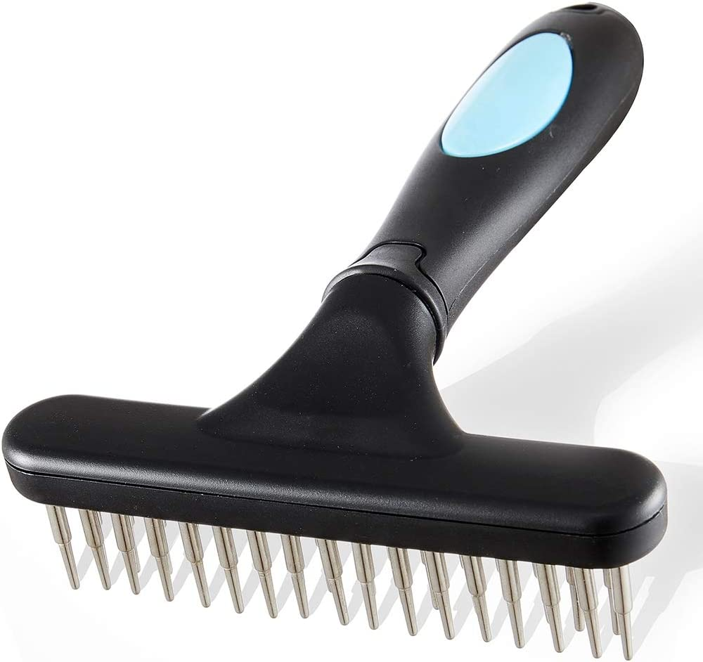 Flymoqi Dog Comb - Stainless Steel Deshedding and Dematting Undercoat Rake – for Dogs, Cats and Rabbits – Double Row of Teeth – Reduces Shedding, Removes Mattes and Tangles