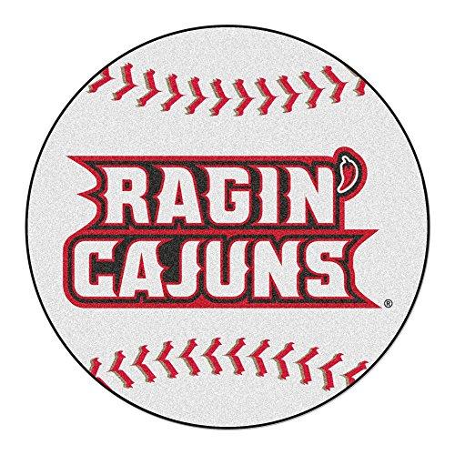 NCAA University of Louisiana-Lafayette Ragin' Cajuns Baseball Shaped Mat Round Area Rug