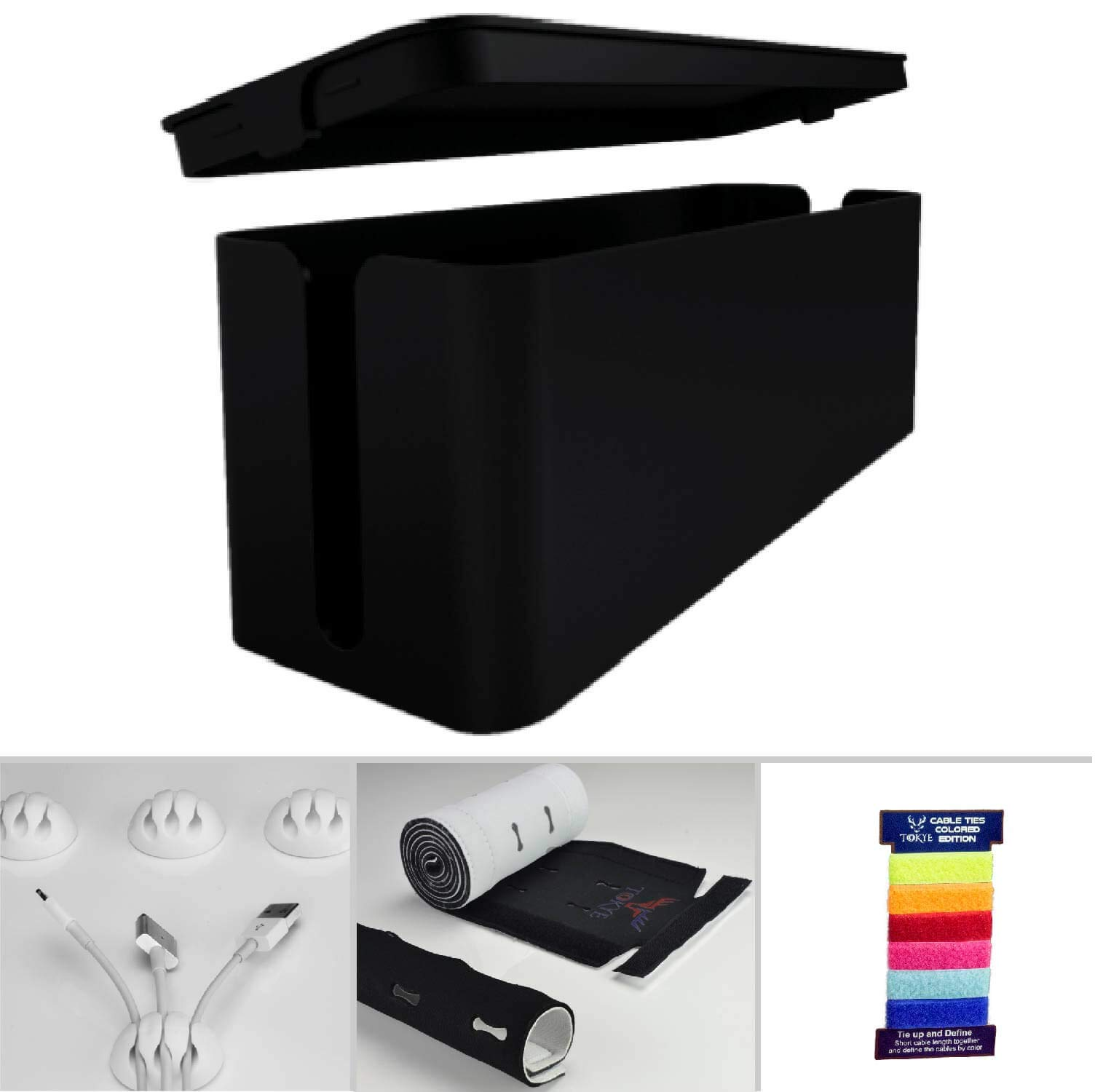 Cable Management Box, Cord Organizer and Cover with Cable kit - Desk, Wall Mounted TV, Video, Game and Computer Wire Holder, Hider, Protector with Cable Sleeve,Black Edition by Tokye Design XXL Value