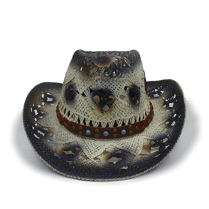 f92ada4a6b Targogo Unisex Sombrero De Vaquero para Hombre Damas Hechas Ocasional A  Mano De Rafia Paja Sombrero Occidental Sombrero De Fieltro De Moda Vintage  Sombreros ...