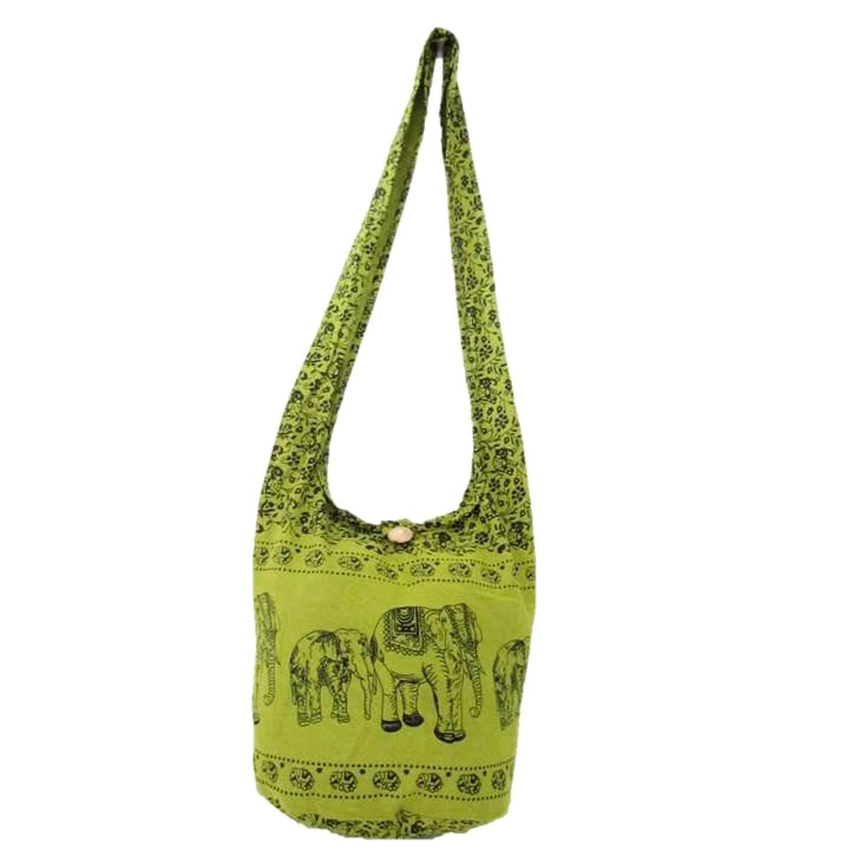 Thai Hippie Hobo Sling Crossbody Shoulder Bag Elephant Gypsy Boho Handbag for Women Medium (Lemon Lime)