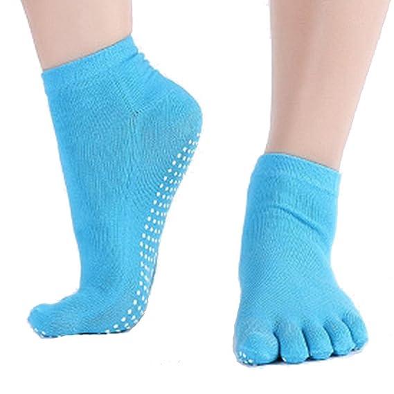 Leisial Calcetines de Yoga con Algodón Puro Calcetines de Cinco Dedos Color Sólido Antideslizante Calcetines del