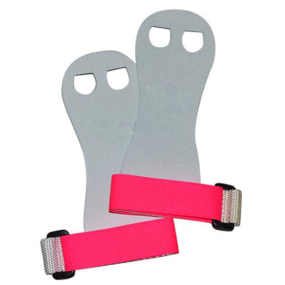 Beginner Soft Hook and Loop Gymnastics Grips. Youth Gymnastic Hand Grip. (White/Pink, Medium)