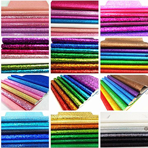 ZAIONE 8 pcs A4 (8'' x 12'') Sheets ColorfulPastel Fine Glitter Vinyl Fabric Sparkle Leather Material Crafts Bow Decor Plain For Shoes Bag Sewing Patchwork DIY Craft Applique (Fine Glitter-Pastel)