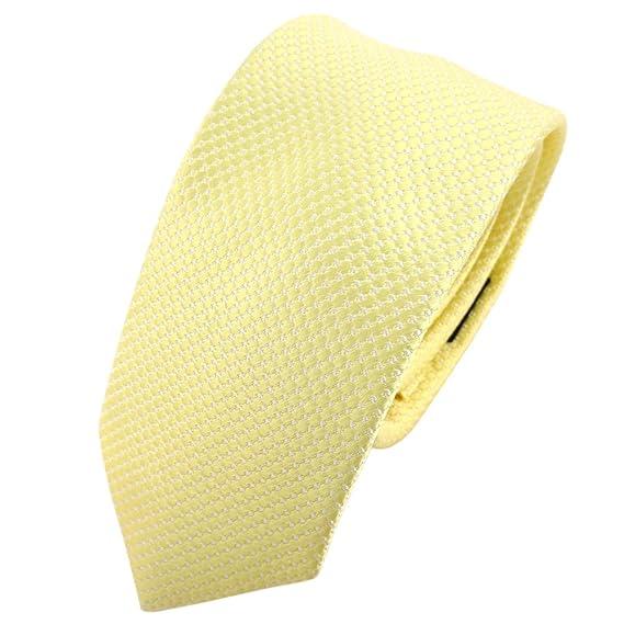 TigerTie - corbata de seda estrecha - amarillo pálido plata ...