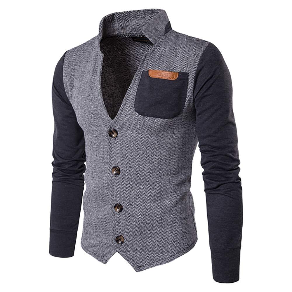 Men's Herringbone Slim Fit Patchwork Button Jacket Sweatshirt Varsity Grey XXL