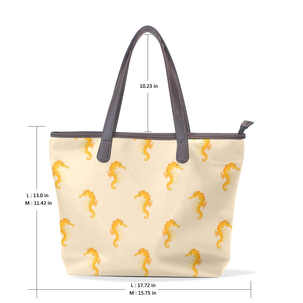 Golden Coast Sea Horse Womens Leather Handbag Shoulder Bag Satchel Handbags Leather Tote Purse Women Handle Handbags