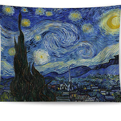 (HAOCOO Starry Night Tapestry, Van Gogh Abstract Painting Wall Art 3D Blue Wall Hanging Tapestry Home Decor for Bedroom Living Room Dorm Apartment 51