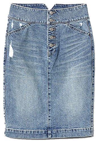 GAP Womens Blue Denim Pencil Skirt with Button-Fly (Gap Button)
