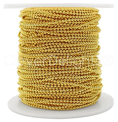 CleverDelights Ball Chain Spool - 30 Feet - 1.5mm Ball (Small) - Gold Color - 10 Meters (Dog Tag Chain Packs)