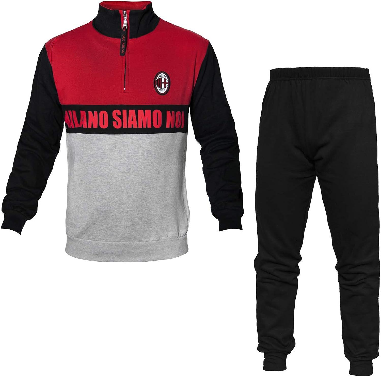 Pyjama surv/êtement Homme en Molleton Coton Demi Zip AC Milan Produit Officiel Art MI14084
