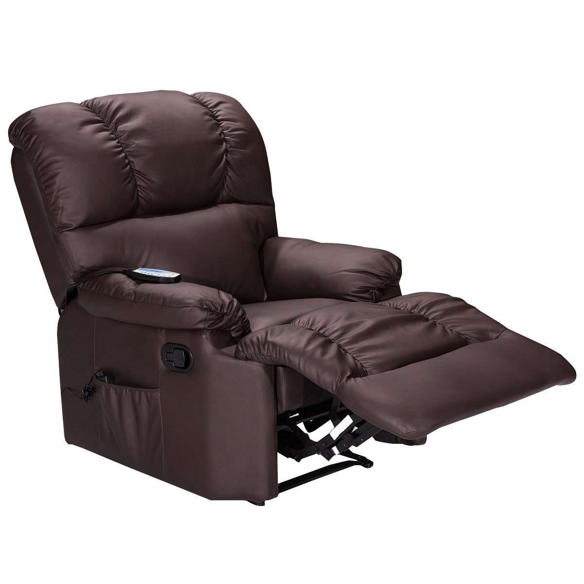 Massage Sofa Recliner Deluxe Ergonomic Lounge Heated PU Leather W/Control Brown