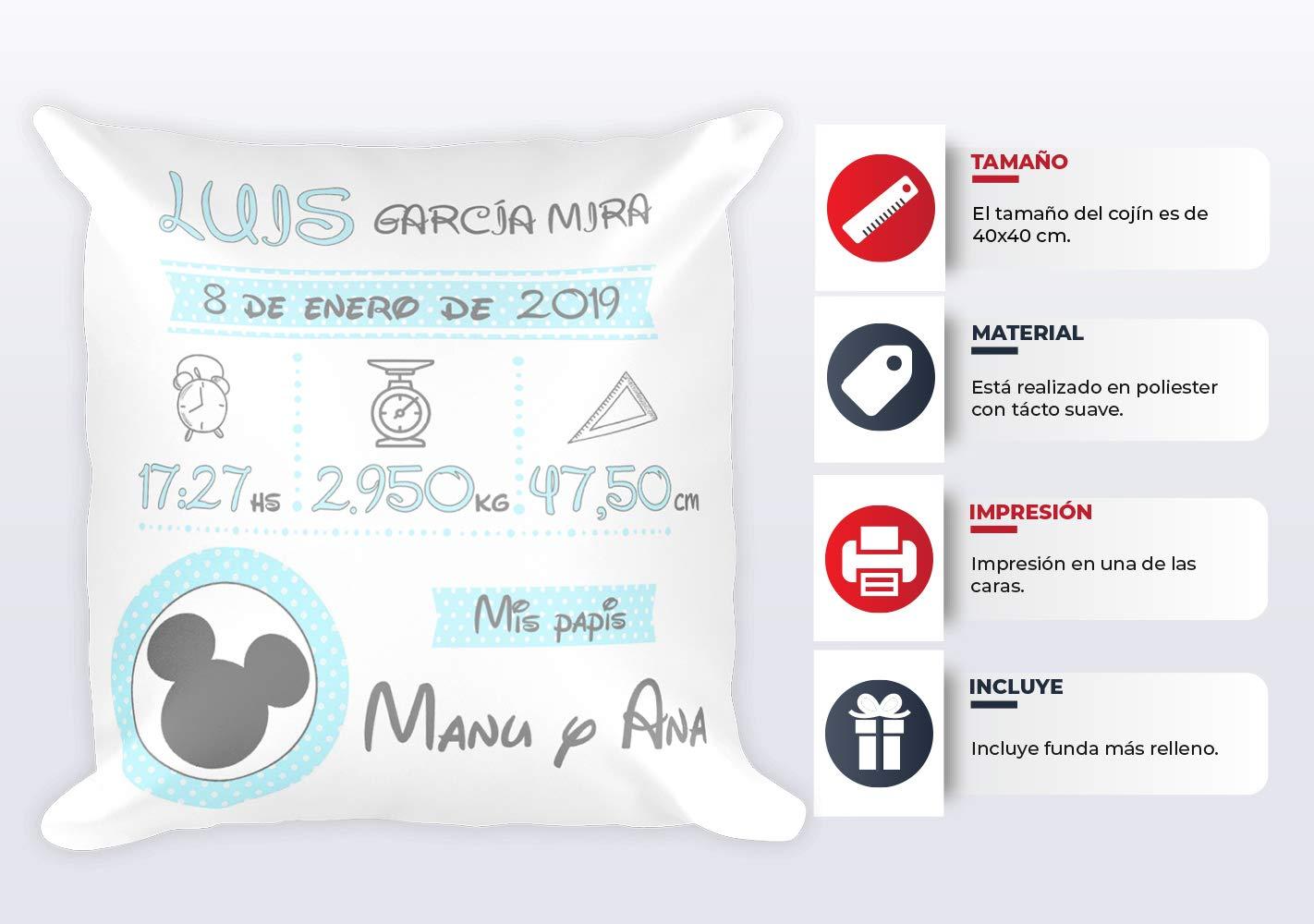 Kembilove Cojín Personalizado Natalicio para Bebes Minnie – Cojín Natalicio con Nombre y Datos del Bebe – Cojín Natalicio para recién Nacidos – ...