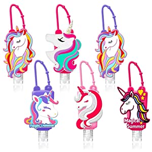 6 Pack Kids Hand Sanitizer Holder 30ml Empty Travel Plastic Keychain Carriers with Silicone Cartoon Case Leak-Proof Refillable Containers, Flip Cap Portable Squeezable Bottles for Kids