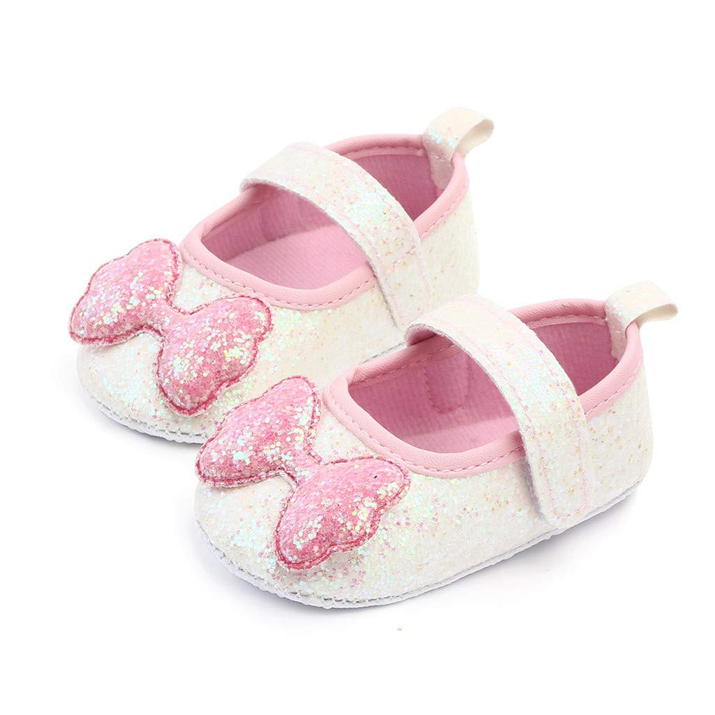 Yourgod Indoor Soft Bottom Toddler Shoes Baby Polka Dot Bow Shoes Baby Walking Shoes Baby Soft-Soled Bow-Knot Princess Shoes