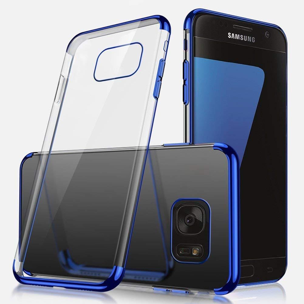 Ukayfe H/ülle Clear Ultrad/ünn Durchsichtige Sto/ßfest Anti-Scratch Bumper Weiche Silikon Plating /Überzug TPU Abdeckung Transparent Case Kompatibel mit Samsung Galaxy S7-Blau+EINWEG