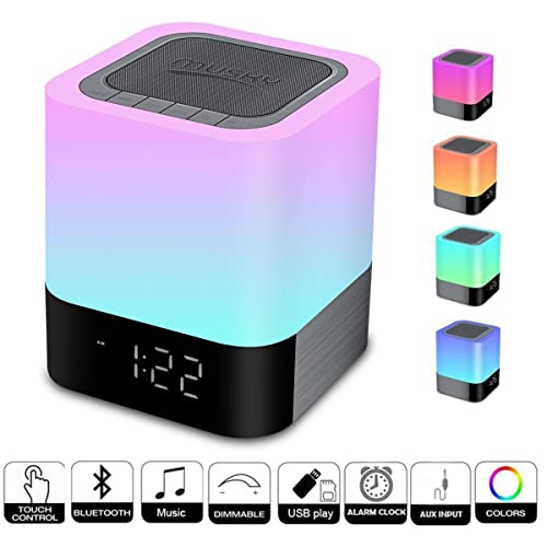 Touch Control Bedside Lamp with Wireless Bluetooth Speaker,Portable Smart LED Touch Sensor Table Lamp Dimmable RGB Multi-Color Changing Night Light, All in 1 Alarm Clock, MP3 Player, Handsfree Calls Bluetooth Speaker Light Touch Lamp Mood Lighting Reading Lamp