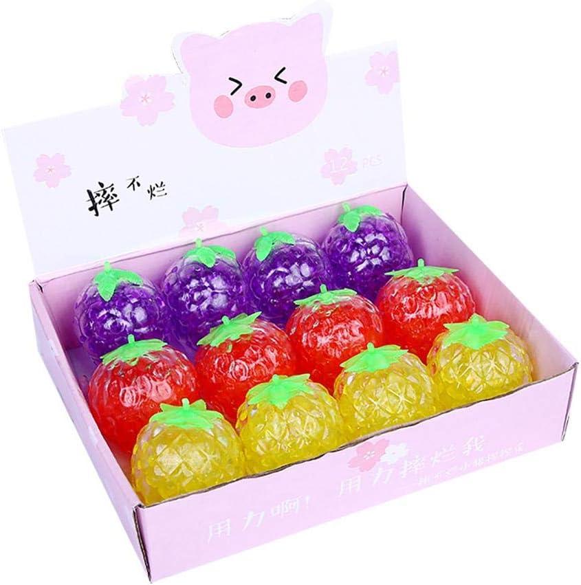 Pelota de Juego para ni/ños Adultos Bola para Exprimir Frutas Lseqow Squeeze Stress Ball Juguete Que Cambia de Color Juguete sensorial con Forma de Fresa Juguete de descompresi/ón