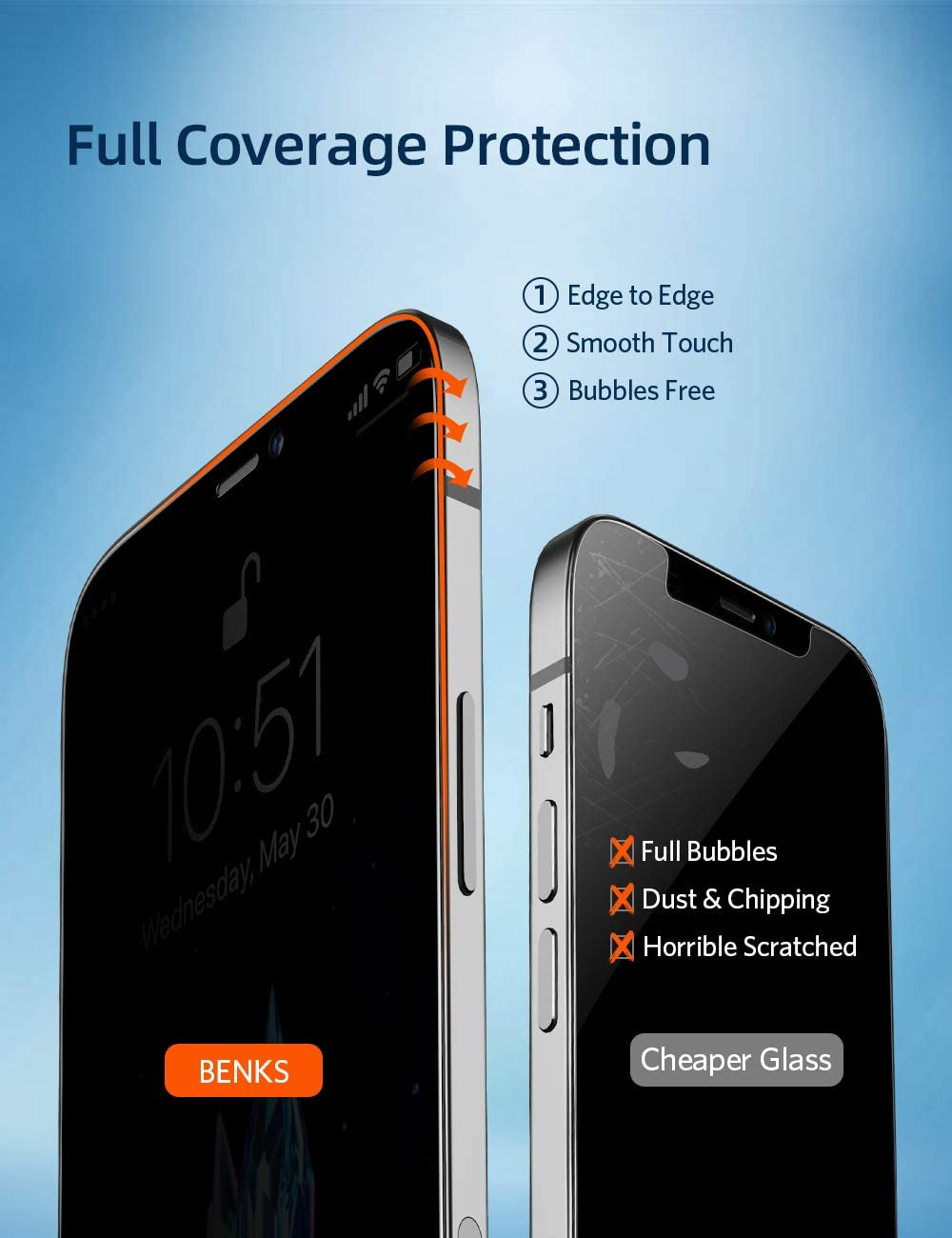 Miếng dán kính cường lực chống nhìn trộm full 3D cho iPhone 12 - 12 Pro - 12 Mini - 12 Pro Max hiệu Benks