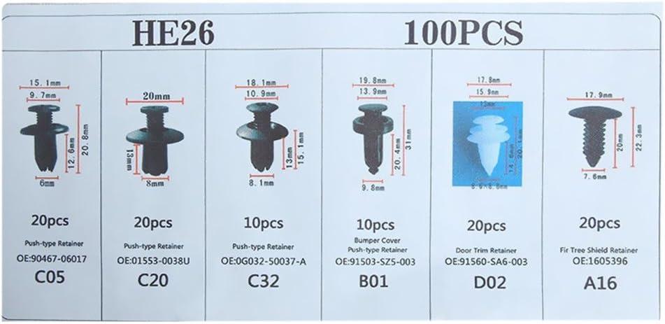 KKmoon 100PCS Remaches Plasticos para Coche