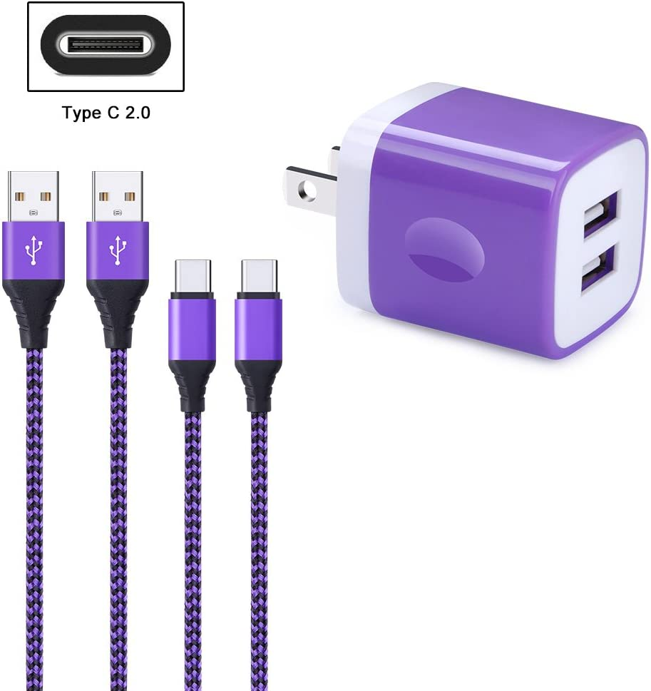 LG G5 G6 V30 FiveBox 2Pack USB Type C Cable Phone Charger Cord Compatible Samsung Galaxy S9 S8 Note 9 8 Google Pixel 2 with 2.1A Dual Port USB Wall Charger Box Brick Charging Block 3 XL Nexus 6P