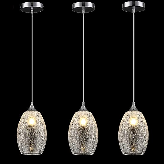 ENGELCH Modern Crackle Glass Ceiling Hanging Pendant Light Fixture for Kitchen Island, 3 Pack Lighting for Kitchen Sink Bar Dining Room Restaurant