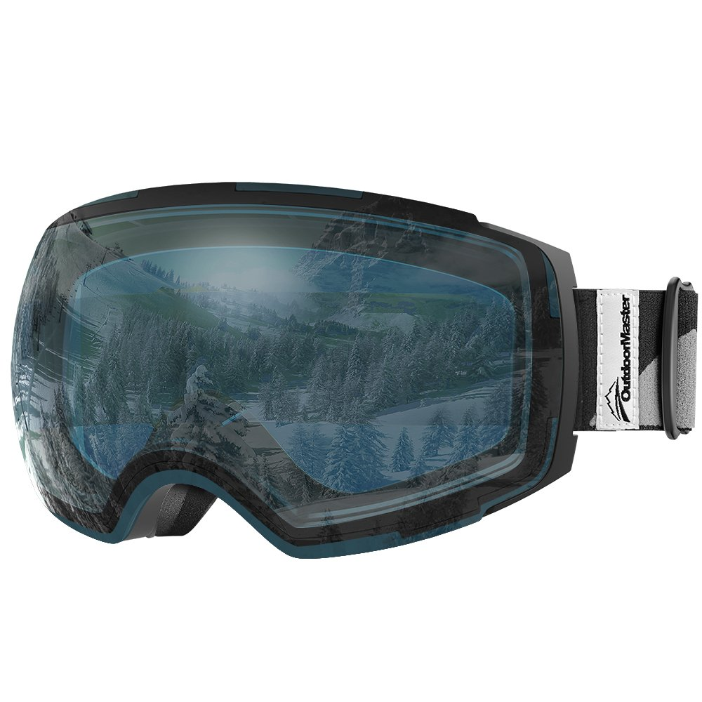 OutdoorMaster Ski Goggles PRO - Frameless, Interchangeable Lens 100% UV400 Protection Snow Goggles for Men & Women ( Black Frame VLT 60% L.Blue Lens and Free Protective Case ) by OutdoorMaster
