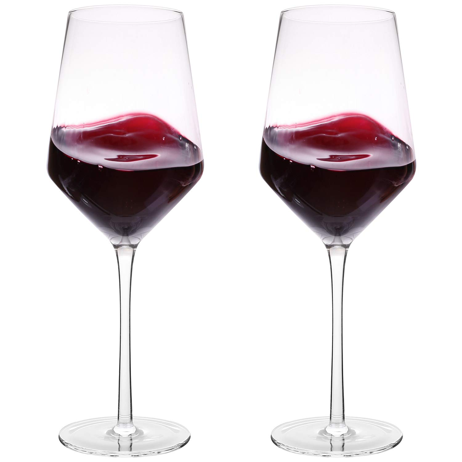 Hand Blown Crystal Wine Glasses - Bella Vino Classy Red/White Wine Glass Made from 100% Lead-Free Premium Crystal Glass, 16 Oz, 9'', Perfect for Any Occasion, Great Gift, Set of 2, Clear by Bella Vino
