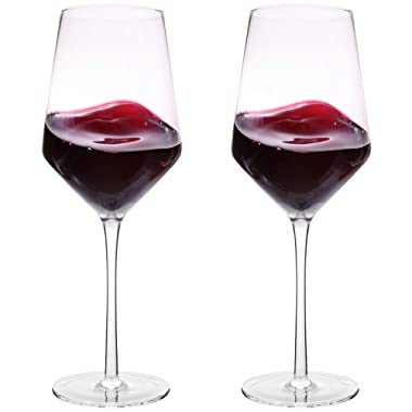 Hand Blown Crystal Wine Glasses - Bella Vino Classy Red/White Wine Glass Made from 100% Lead-Free Premium Crystal Glass, 16 Oz, 9 , Perfect for Any Occasion, Great Gift, Set of 2, Clear