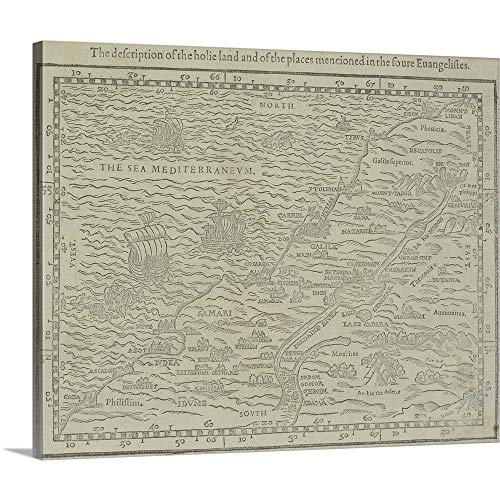 - GREATBIGCANVAS Gallery-Wrapped Canvas Entitled Antique map of The holy Land from Geneva Bible by 14