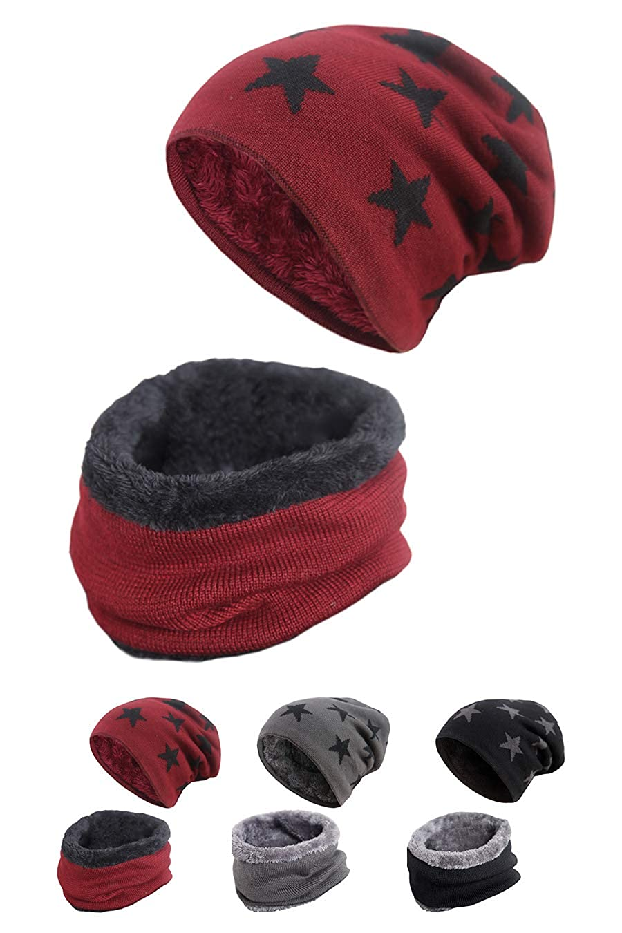 STYLE SLICE Winter Hats Fleece Lined Hat and Scarf Sets for Women Men Unisex Star Print - Beanie Circle Loop Infinity Scarfs Neck Warmer - Black Burgundy Grey - Ski Snowboard Warm Winter Beeny Knitted