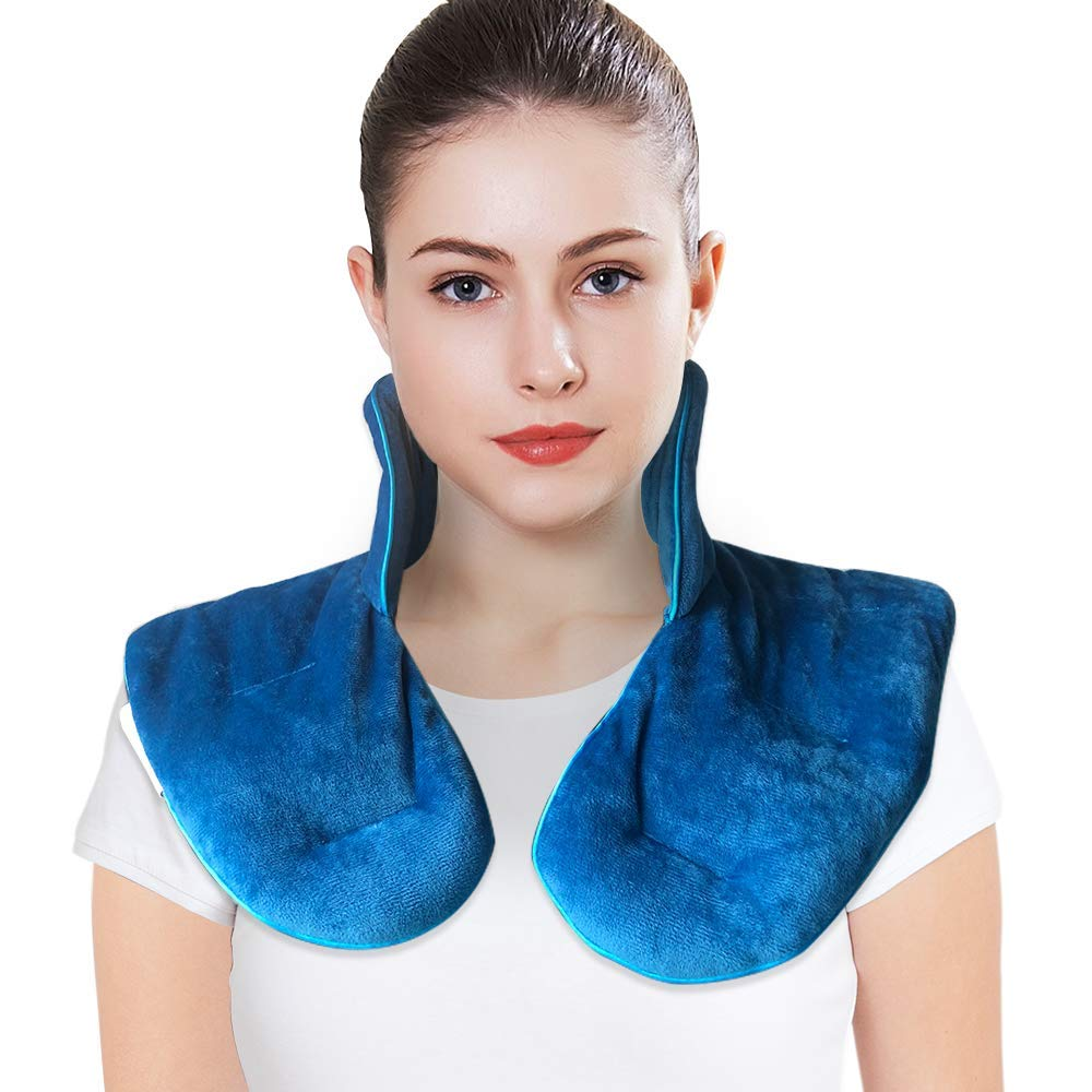 MAXTID Neck and Shoulder Wrap 3lbs, Microwavable Heat Pad & Cooling Pad for Stress Relief - Natural Lavender & Clay by MAXTID