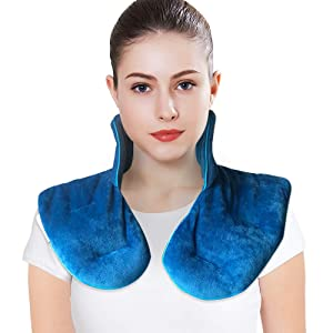 MAXTID Neck and Shoulder Wrap 3lbs, Microwavable Heat Pad & Cooling Pad for Stress Relief - Natural Lavender & Clay