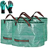 Professional 3-Pack 63 Gallons Lawn Yard Garden Bag with Gardening Gloves - XX Large Size Reusable Leaf Bags - Comparative-Winner 2018 - Gardening Containers for Lawn and Yard Waste Bags,4 Handles